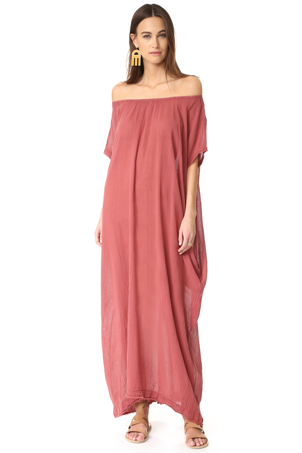Moonstone off shoulder caftan - coppertone