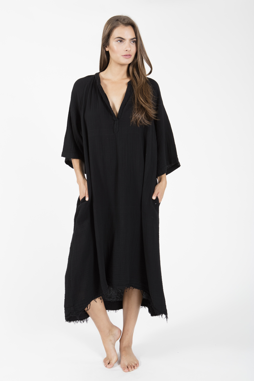 Tunisia long sleeve caftan - black