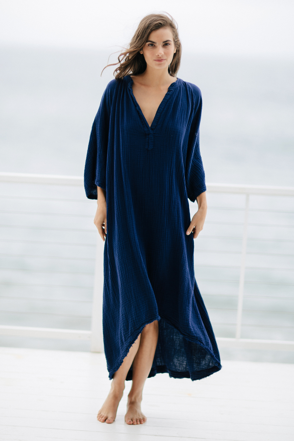 Tangier long sleeve caftan - pacific