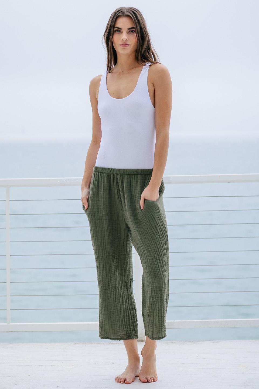 Sorrento beach pant - army green