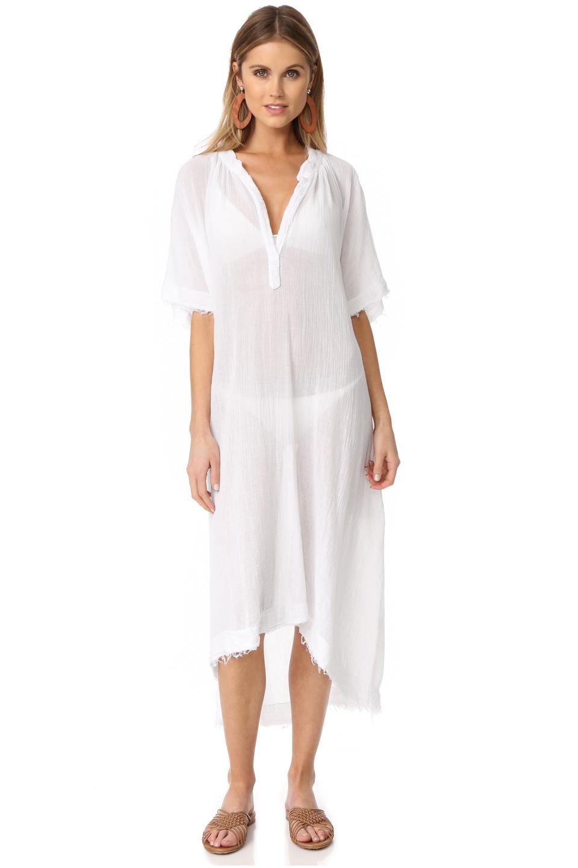 Tunisia short sleeve caftan - white