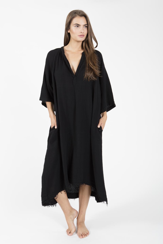 Tangier long sleeve caftan - black