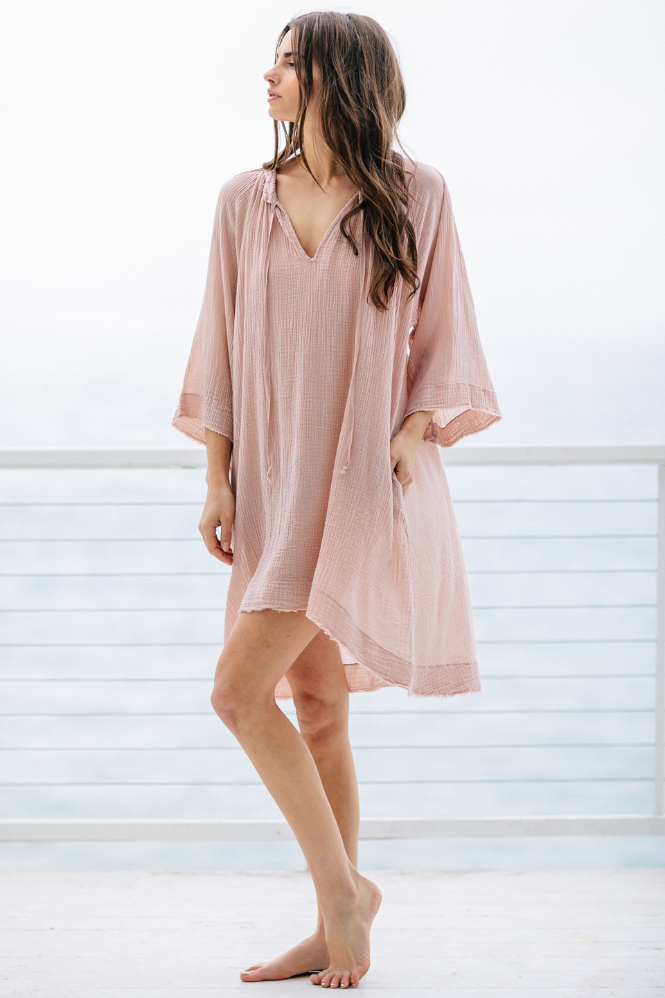 Joshua Tree mid-length caftan - dusty rose