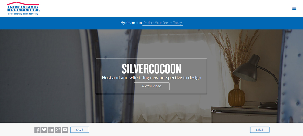 Silvercocoon is a featured Dreamer on American Family Insurance's dreamfearlessly.com site. Click on image to watch video and read more.