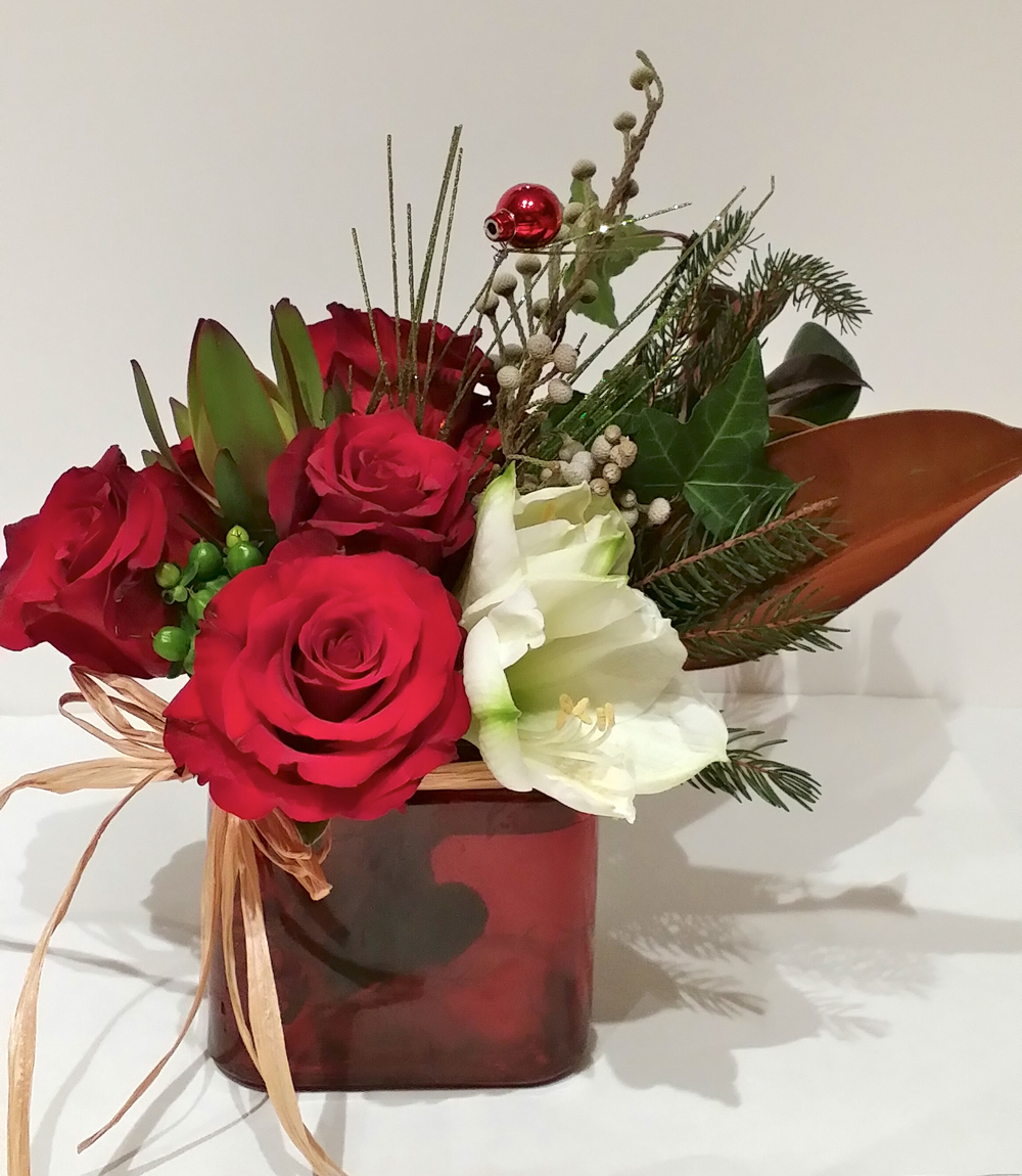 Red Roses, Amarylis, Magnolia leaves