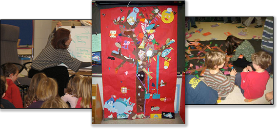 "From left to right: Dar brainstorms with kids before a collaborative poetry writing session, A collaborative tree mural, Students work on a collaborative tree mural. Workshop: ""The Poetry of Trees."""