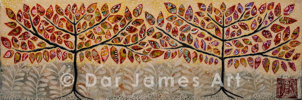 """The Kaleidoscope of a Beautiful Day,"" 10x30"", Acrylic on gallery wrapped canvas."