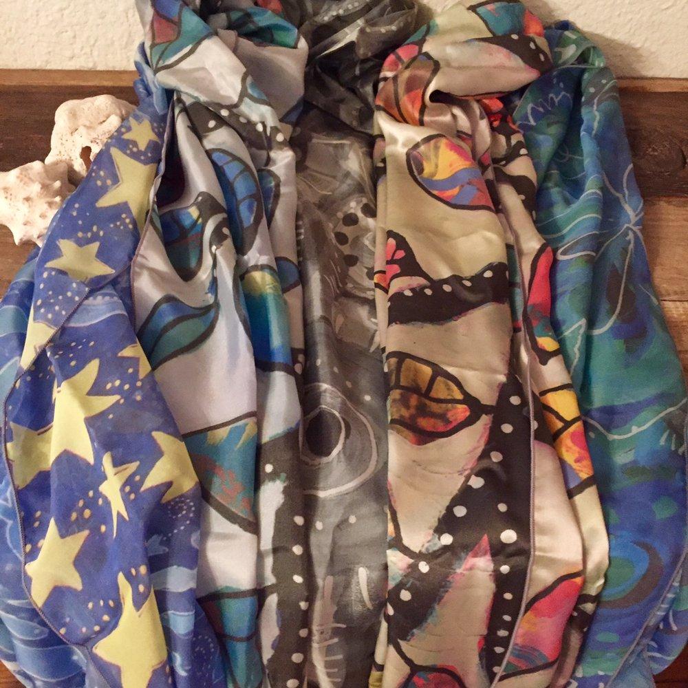 Vibrant 100% Silk Scarves Featuring Dar's Art