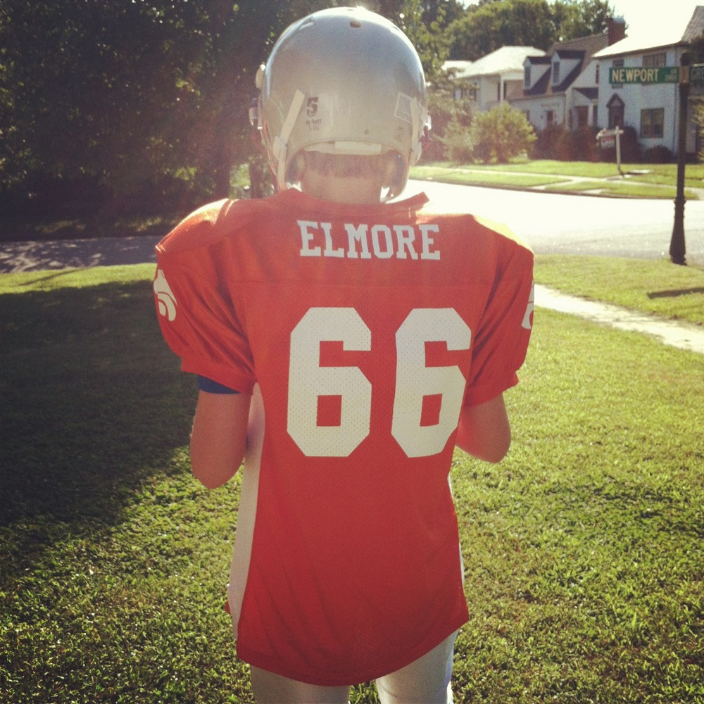 Camden, readying for his first football game, in September 2013.
