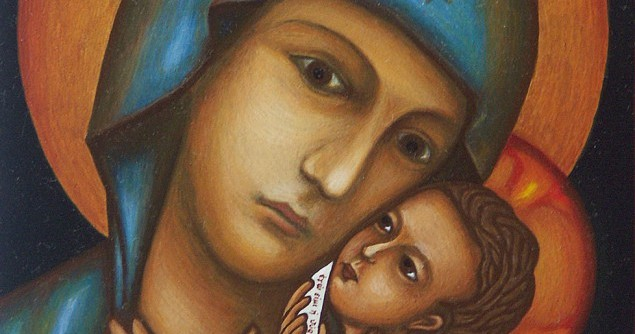 Mary's Magnificat holding the baby with a sword.jpg
