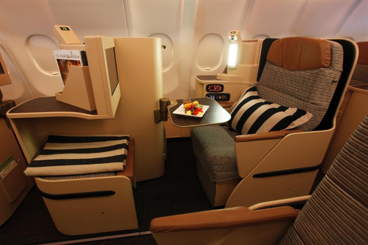 Etihad Airways Business Class seating.