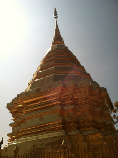 Gazing up at the inner pagoda within Wat Phra That Doi Suthep.