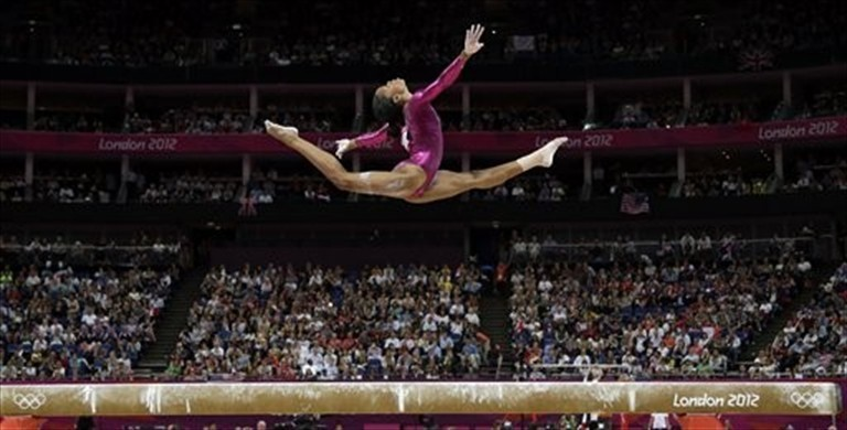Gabby Douglas, writing her London verses.