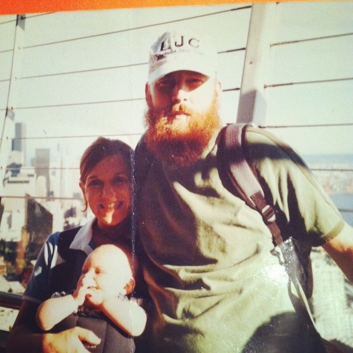In Seattle, circa 2002. Wife, baby, beard.