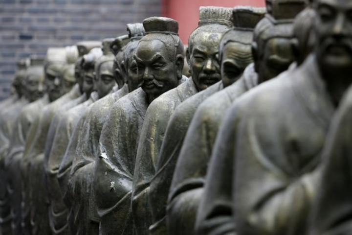 Statues of Confucius at the Temple of Confucius in Beijing, China.