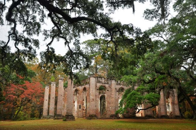 Old Sheldon Church Ruins in Beaufort County, South Carolina.