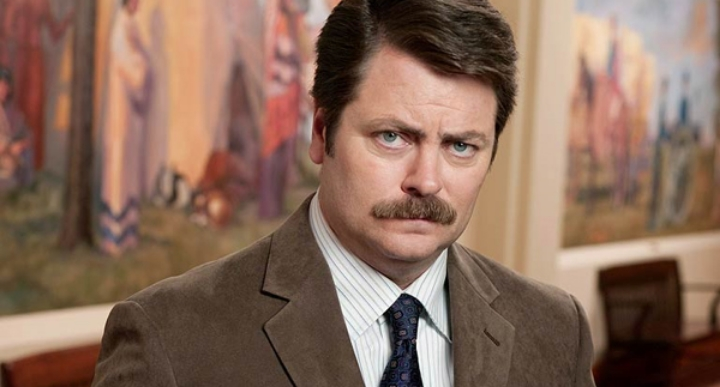 "The indomitable televised version of libertarianism: Ron Swanson of ""Parks and Recreation."""