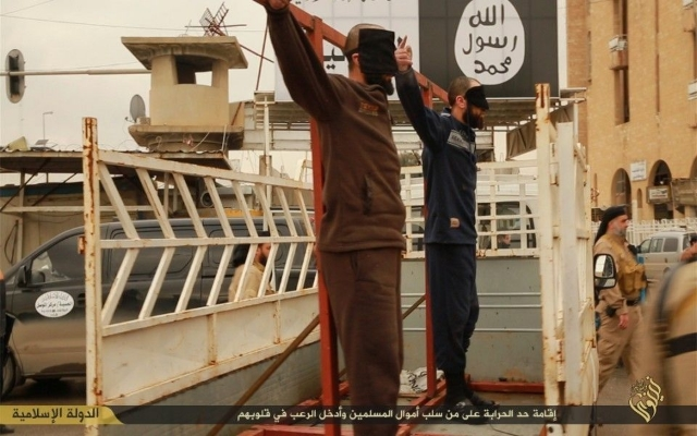 An ISIS crucifixion scene in Syria. Photo: From a series of photos released by ISIS in January.