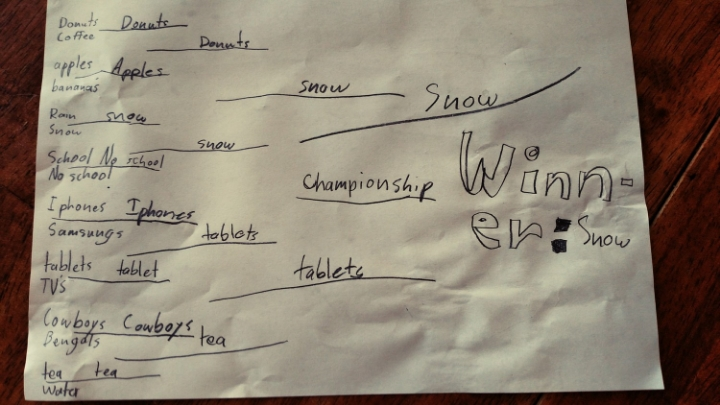 Jackson, 8, envisioned and constructed the bracket while Kate, 10, made the picks.