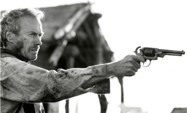 Clint Eastwood as William Munny, the desperately flawed agent-of-redemption in the 1992 film Unforgiven.