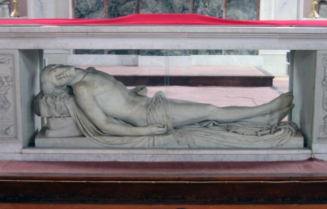 """""""Dead Christ"""" is a nineteenth-century sculpture by John Hogan Cork."""