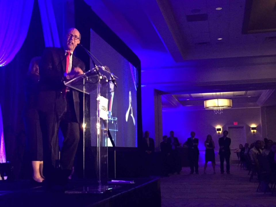 US Labor Secretary Tom Perez delivered the keynote address at the annual Jefferson-Jackson Dinner, hosted by The Marriott in Richmond, Virginia, on June 18, 2016. Photo: NBC12.