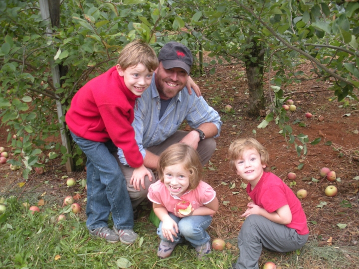 Autumn Rites: apple-picking with my children, at Carters Mountain in Charlottesville, circa 2009. Left to right: Camden, 7; Kate, 4; Jackson 3.