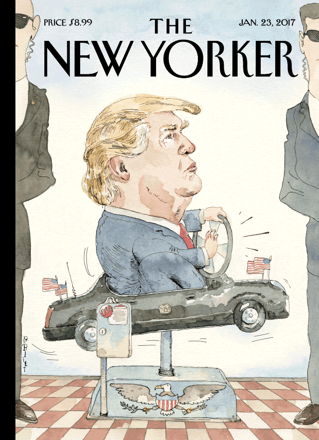 "Illustration: ""At the Wheel"" by Barry Blitt for The New Yorker (January 23, 2017)."