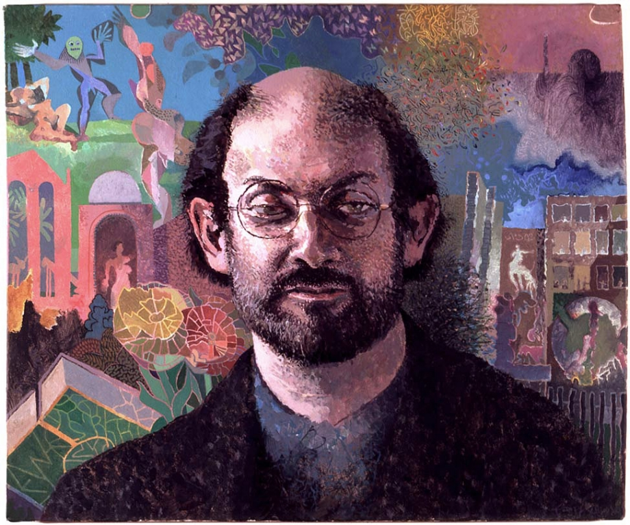 """Salman Rushdie,"" oil on canvas. Tom Phillips. 1992."