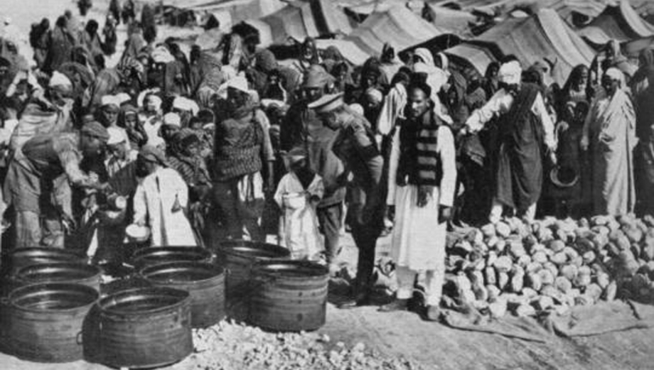"An archival image from the Italian occupation of Libya between the First and Second World War. Over 10,000 Libyans—mostly Bedouins—were herded into this concentration camp at El Agheila, a coastal city in Eastern Libya.    The historian Ilan Pappe has estimated that between 1928 and 1932 the Italian military ""killed half the Bedouin population (directly or through starvation in camps).""    Photo: Wikipedia."