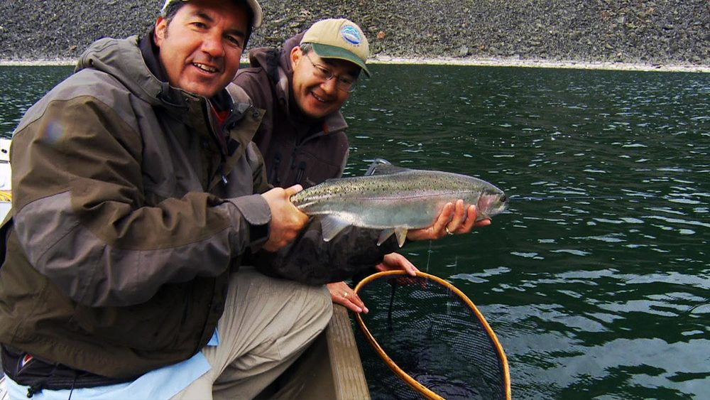Don Freschi & Brian Chan Showing Off a Big Summit Lake Rainbow trout