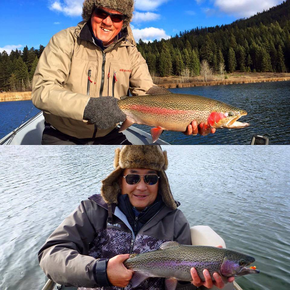 Dale Freschi and Brian Chan with a couple beautiful rainbow trouts