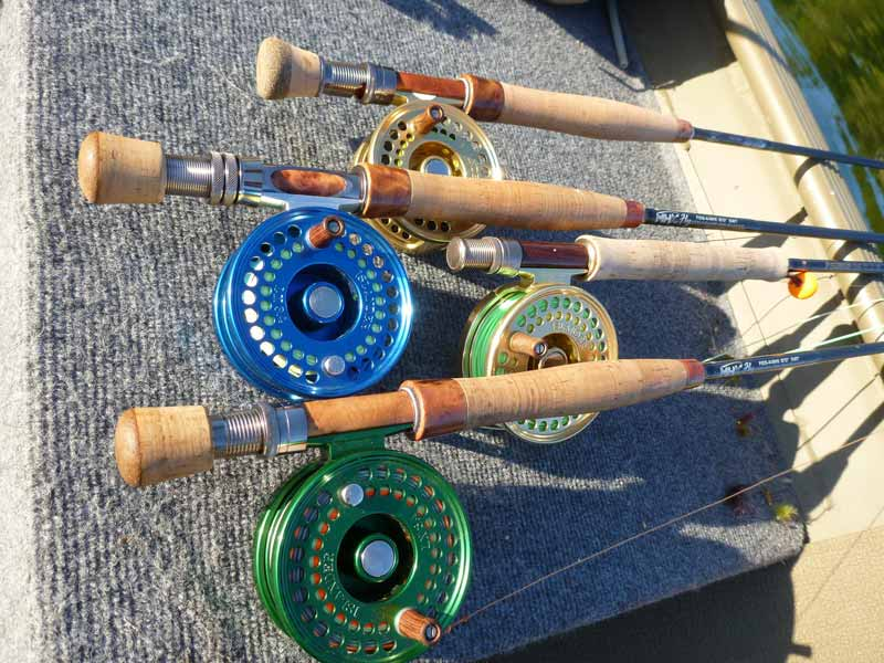 Various Islander Reels rigged up with different types of line.