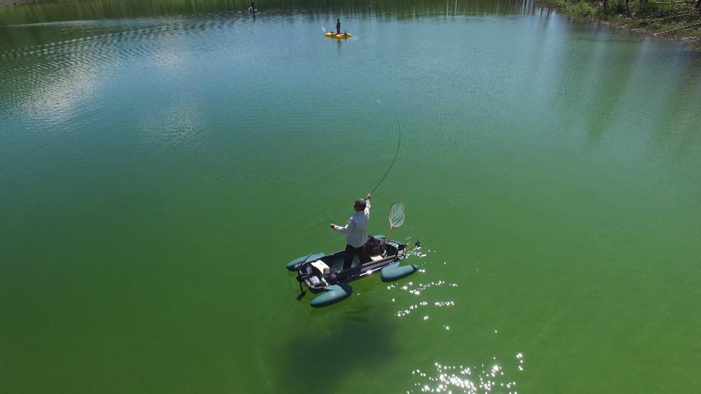 Dale casting and sight-fishing from his Frog Boat.