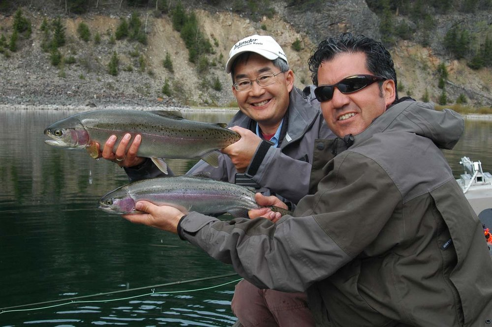 "Brian Chan & Don Freschi with ""daily double"" on Summit Lake, BC."