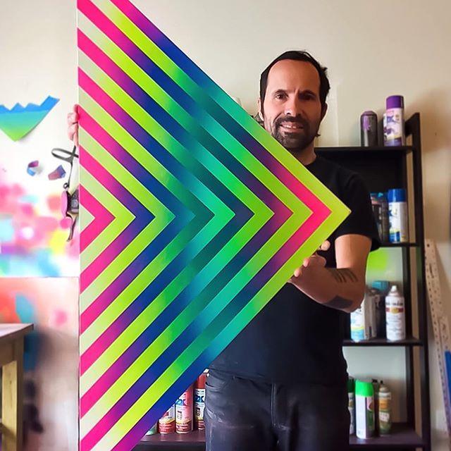 Di Gregorio works in his studio at the Warehouse Artist Lofts