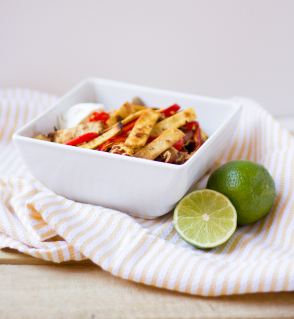 Beef Burrito Bowls With Salted Lime Tortilla Strips l wanderingroot.com