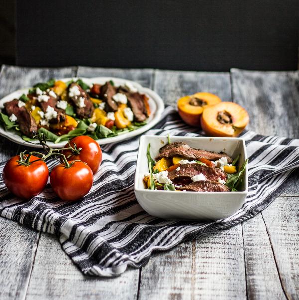 Steak, Tomato and Peach Salad l wanderingroot.com