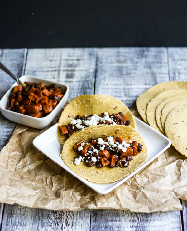 Roasted Sweet Potato and Black Bean Tacos with Goat Cheese l wanderingroot.com