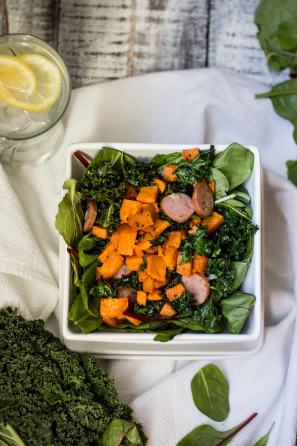 Roasted Sweet Potato and Sausage Salad l wanderingroot.com