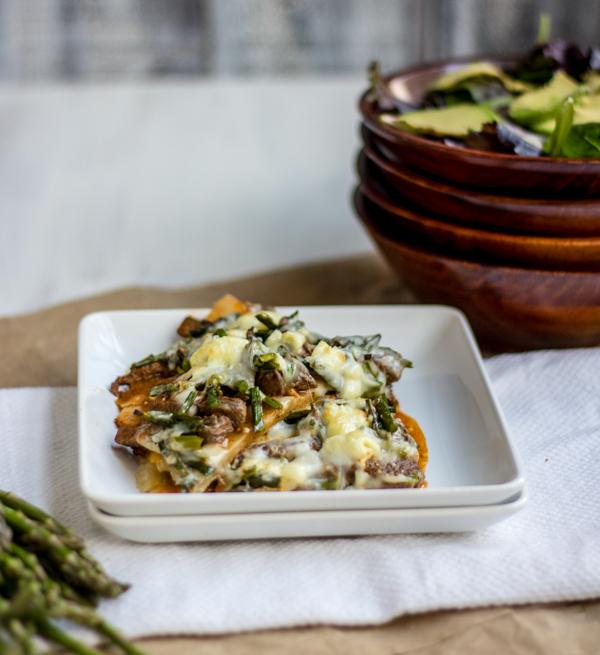 Buffalo Steak and Roasted Asparagus Pizza {Gluten Free} l wanderingroot.com