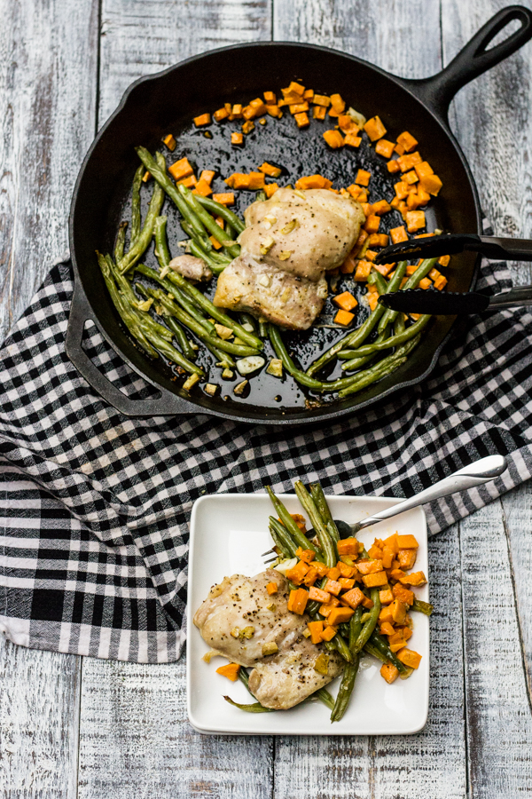 One Skillet Roasted Chicken with Sweet Potatoes and Green Beans l wanderingroot.com
