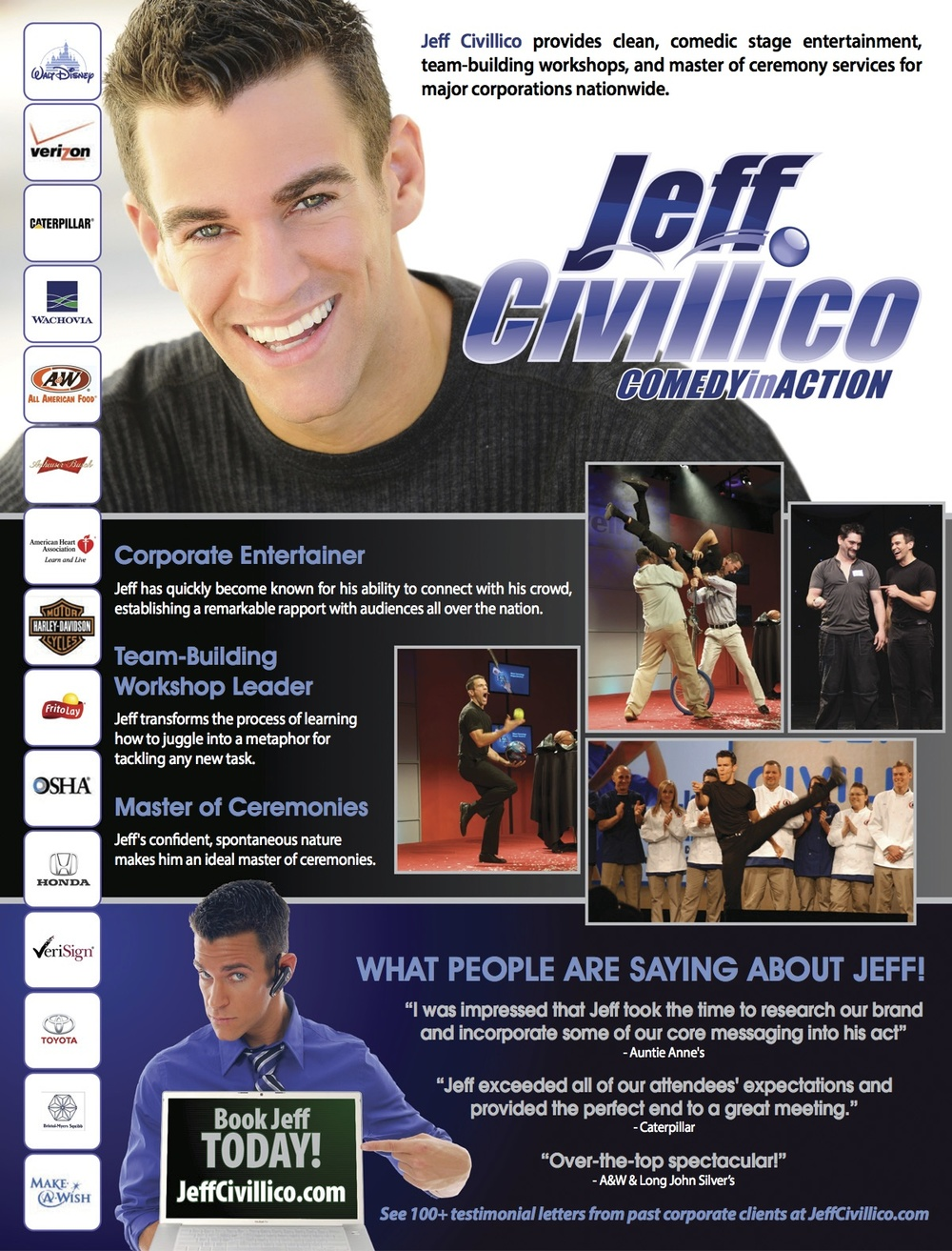 "Here's an example of a great ""one sheet"" for comedian, Jeff Civillico"