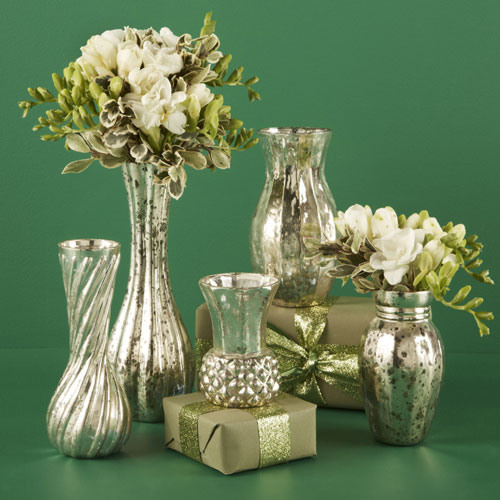Hand blown mercury glass vases from www.elizabethsembellishments.com