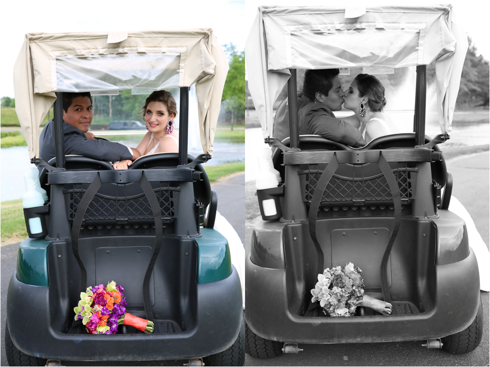 Latin cuople kissing wedding inspiration golf car.png