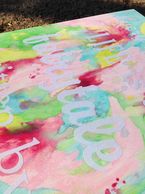 water color with vinyl letters