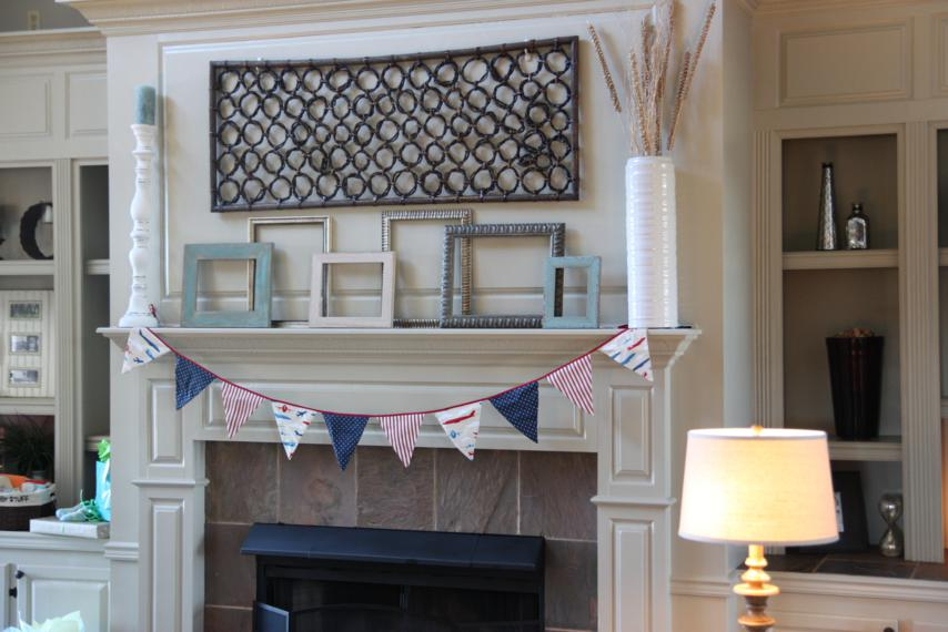 I used scraps of fabric leftover from the nursery to make the bunting for the mantel. I sent it home with Jenny so she can use it to decorate her hospital room when the big day comes.