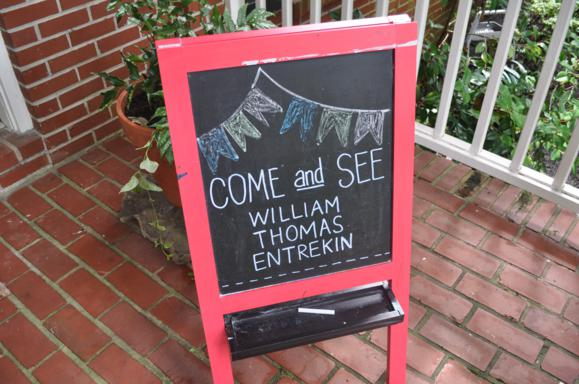 A chalkboard sign to assure guests they were at the right place! :)