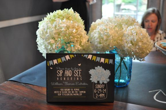 This was the invitation - the hydrangeas in mason jars match it perfectly!