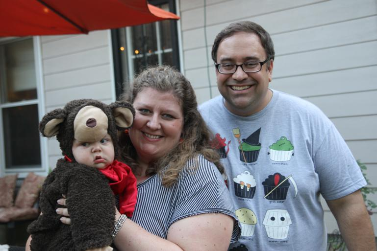 Teddy Bear Henry with his parents, Jenny and Darrin